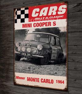 Plaque Métal30x21 cm Reproduction image vintage Austin mini cooper S, par déco-bolides
