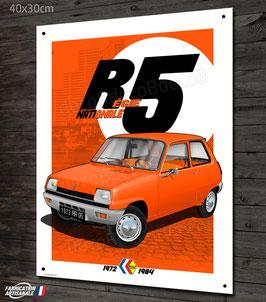 Plaque métal Régie nationale Renault R5 orange, déco garage Renault vintage.