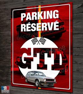 """Plaque métal déco VW Golf GTI série 1 """"parking réservé"""" , décoration vintage garage."""