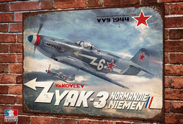 Plaque métal déco yakovlev yak-3 normandie-niemen warbirds ww2 fighter