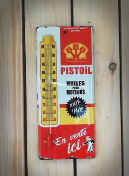 """Thermomètre métal """" PISTOIL """" huile pour moteurs, design inspiré par les anciens objets publicitaires des fabricants d'huile."""