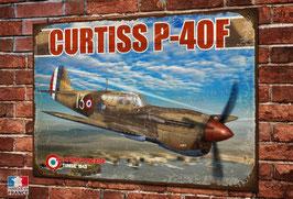 Plaque métal déco Curtiss P-40F Armée de l'air Française libre, Warbird WW2, seconde guerre mondiale.