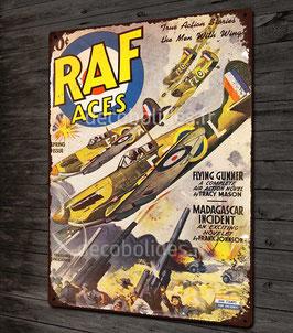 Plaque métal déco BD RAF aces seconde guerre mondiale avec illustration chasseur spitfire