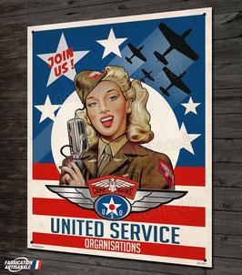 Plaque métal déco USO pin-up vintage et avion seconde guerre mondiale