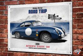 """Artwork Porsche 356 bleue """" road trip"""" imprimée sur plaque métal décorative, illustration Christophe Clérici, déco garage vintage & classic par Déco Bolides."""