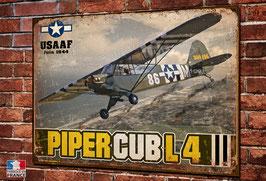 Plaque métal déco Piper Cub L4 USAAF débarquement Normandie 1944.