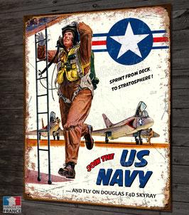 Plaque métal déco pilote US navy douglas F4D Skyray porte-avions, ancienne affiche propagande militaire Américaine année 60'.