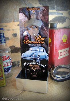 """Décapsuleur mural Volkswagen Cox version vintage """"Bar Brasserie Aircooled"""" par déco bolides"""