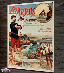 Plaque métal déco, reproduction ancienne affiche publicitaire et touristique sur la ville de Biarritz au Pays basque.