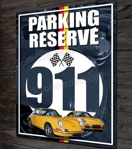 Plaque métal déco Parking réservé Porsche 911 FLAT 6, déco garage vintage, nouvelle Porsche et Porsche classic.