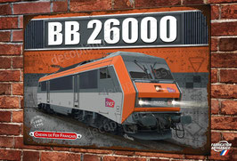 """Plaque métal déco Locomotive électrique BB 26000 """"Sybic"""" Train SNCF"""