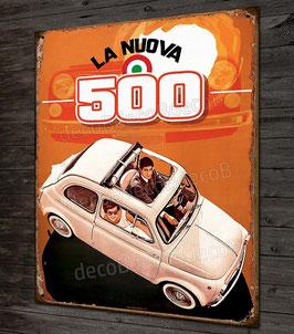 Plaque métal déco Nuova FIAT 500 vintage style publicité ancienne.