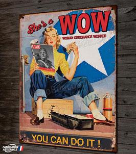 Plaque métal déco pin-up wow vintage et avion seconde guerre mondiale par déco bolides.
