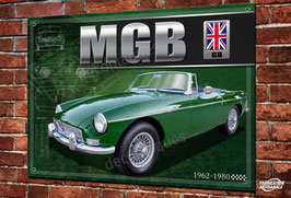 Plaque métal déco MG MGB Roadster British green