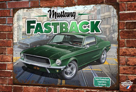 Plaque métal déco 1968 Ford Mustang GT Fastback.