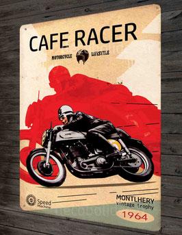 """Plaque métal déco Cafe Racer,""""Motorcycle Lifestyle Montlhéry"""", par Déco bolides"""
