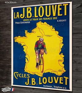 Plaque métal déco, vélo JB LOUVET, reproduction affiche vintage et cyclisme rétro.