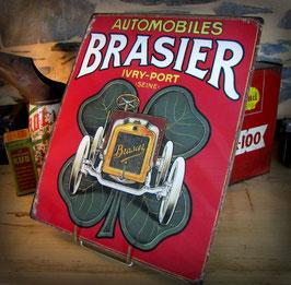 """Plaque métal reproduction publicité """"Automobiles Brasier"""" par Déco- bolides"""