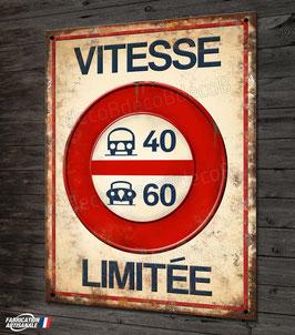 Plaque métal reproduction ancien panneau de signalisation routière vintage par Déco bolides.