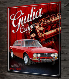 Plaque métal déco Alfa Romeo Giulia coupé Bertone, Sprint GT, junior, Veloce, GTV, 1963-1976.