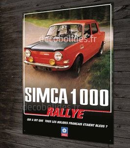 Plaque métal Simca 1000 rallye.