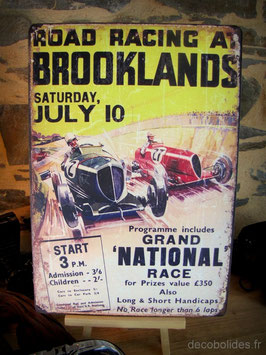 "Plaque métal , reproduction affiche vintage course ""Grand prix auto Brooklands"" par Déco bolides"