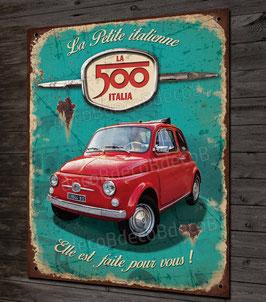 """Plaque métal déco Fiat 500 rouge """" la petite italienne """" style plaque émaillée vintage, déco garage voiture de collection."""