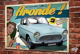 """plaque métal déco SIMCA """" La nouvelle Aronde """"(bleu)"""