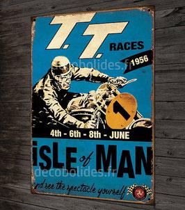 plaque métal déco 30,5x20cm TT 1956 île de man( bleu), moto vintage.