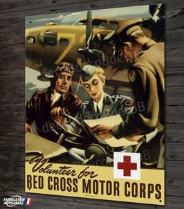 plaque métal déco, reproduction affiche WW2 US air force B-17 & Jeep.