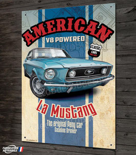Plaque métal déco Ford Mustang American V8, déco garage US vintage & collection  par Déco-bolides