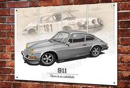 "Artwork Porsche 911 classic ""Grise&beige"" imprimée sur plaque métal décorative, illustration Christophe Clérici."