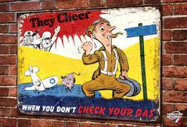 "Plaque métal déco reproduction poster pilote WW2 US Air Force "" when you don't check your gas"""