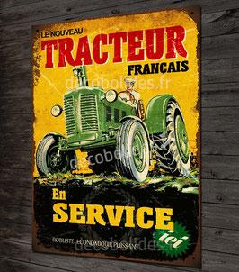 Plaque métal déco Tracteur vintage par déco bolides.