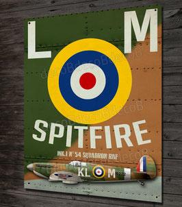 Plaque métal déco chasseur supermarine Spitfire Mk1 squadron 54 bataille d'Angleterre, warbirds WW2.