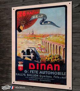 Plaque métal déco, reproduction ancienne affiche publicitaire rallye automobile à Dinan.
