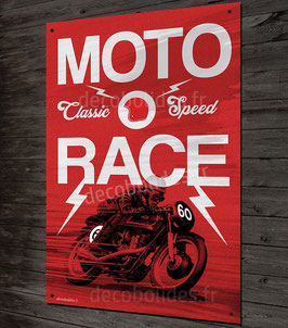 Plaque métal déco Moto race 60