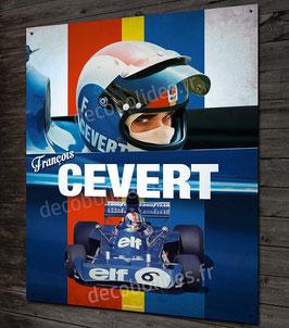 Plaque métal déco François Cevert pilote et champion de Formule 1 Tyrrell