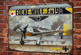 Plaque métal déco chasseur Focke-Wulf 190A WW2 Fighter