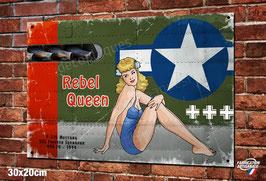 """Plaque métal déco vintage nose art P-51B Mustang """"Rebel queen """" avions warbirds WW2"""
