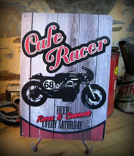 Plaque métal Cafe racer 30x21 cm par Déco-bolides