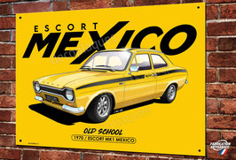 Plaque métal Artwork Ford Escort Mexico, rallye vintage