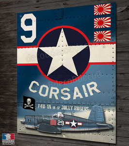 "Plaque métal déco chance vought F4-U corsair fighter "" jolly rogers """
