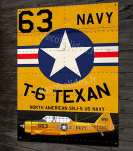 Plaque métal déco North american T-6 Texan US Navy