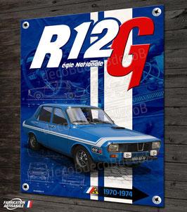 Plaque métal déco Renault R12 Gordini Régie Nationale, déco garage Renault vintage & collection.