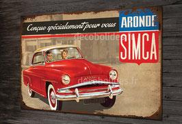 plaque métal Simca aronde, imitation plaque émaillée ancienne par déco bolides.