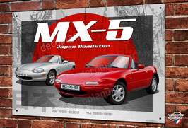 Plaque métal déco Mazda MX-5 Japan roadster youngtimer.