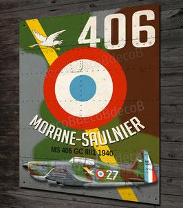 plaque metal déco Chasseur Français seconde guerre mondiale Morane Saulnier MS 406