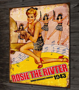 Plaque métal déco Rosie the rivter, pin-up vintage et avion seconde guerre mondiale