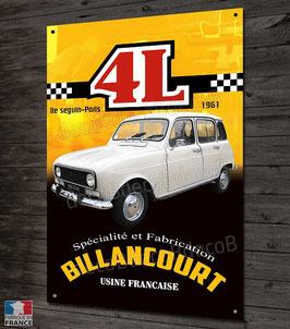Plaque métal Renault 4 et 4L Usine Billancourt par déco bolides